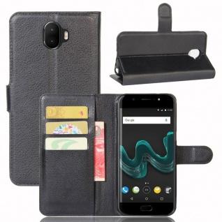 Tasche Wallet Premium Schwarz für Wiko Wim Hülle Case Cover Etui Schutz Neu Top