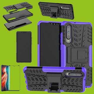 Für Huawei P30 Hybrid Tasche Etuis 2teilig Lila Hülle + 4D Curved H9 Glas Cover