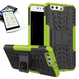 Hybrid Case Tasche Outdoor 2teilig Grün für Huawei P10 Hülle + Hartglas Etui