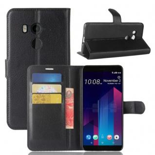 Tasche Wallet Premium Schwarz für HTC U11 Hülle Case Cover Etui Schutz Zubehör