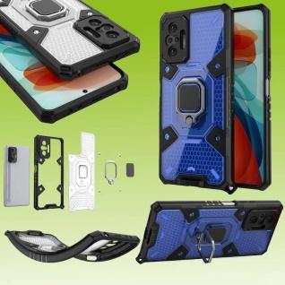 Für Xiaomi Redmi Note 10 Pro Blau Schock Hybrid PC +TPU + Ring Tasche Hülle Etui