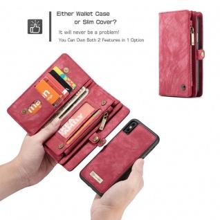 Schutzhülle Handy Tasche f. Apple iPhone X / XS Geldbeutel Schutz Hülle Etui Rot - Vorschau 5