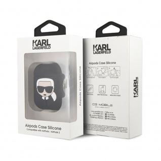 Karl Lagerfeld Silikon Cover für Apple AirPods Schwarz Schutzhülle Tasche Case - Vorschau 4