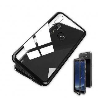 Für Huawei P Smart Plus Magnet / Metall Glas Schwarz / Transparent Tasche Hülle