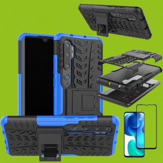 Für Xiaomi Mi Note 10 Lite Hybrid Handy Tasche Blau + 4D Curved H9 Glas Panzer