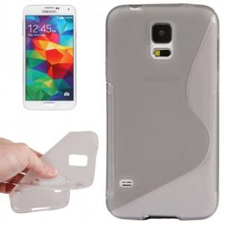 Design Hülle Schutz TPU für Samsung Galaxy S5 Mini G800 Cover Case grau Kappe