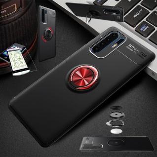 Für Huawei P30 Lite Dünn Magnet Metall Ring Tasche Schwarz Rot + H9 Glas Etuis