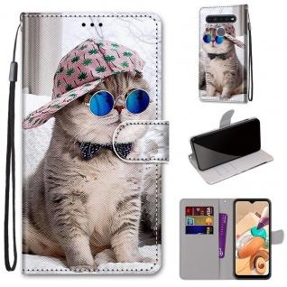 Für LG K41S / K51S Kunst-Leder Handy Tasche Motiv 4 Hülle Etuis Cover Schutz Neu