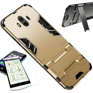 Für Apple iPhone XS MAX 6.5 Tasche Metal Style Hybrid Hülle Gold + H9 Glas Cover