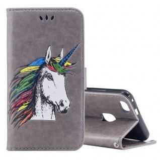 Tasche Wallet Einhorn Grau für Huawei P10 Lite Hülle Case Cover Etui Schutz Neu