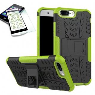Hybrid Case Tasche Outdoor 2teilig Grün für ONEPlus 5 Hülle + Hartglas Etui
