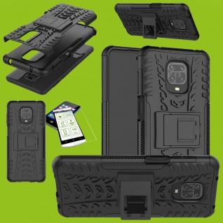 Für Xiaomi Redmi Note 9S Hybrid Handy Tasche Hülle Cover Schwarz + H9 Glas Case