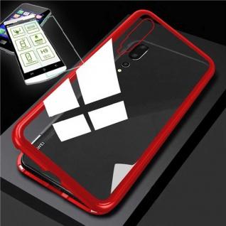 Für Xiaomi Mi 9 360 Grad Magnet Tasche Etuis Rot / Transparent + H9 ´Hart Glas