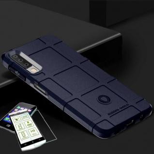 Für Samsung Galaxy A9 A920F Tasche Shield TPU Silikon Hülle Blau + H9 Glas Cover