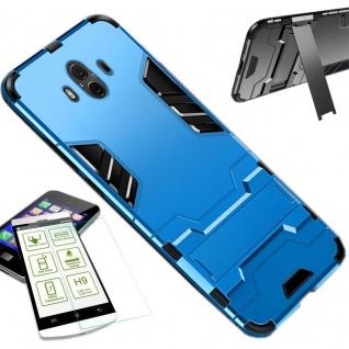 Für Huawei P Smart Plus Tasche Case Metal Style Hybrid Hülle Hellblau + H9 Glas