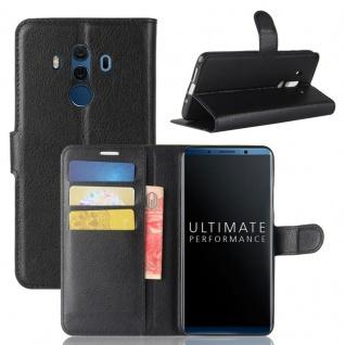 Tasche Wallet Premium Schwarz für Huawei Mate 10 Pro Hülle Case Cover Etui Neu