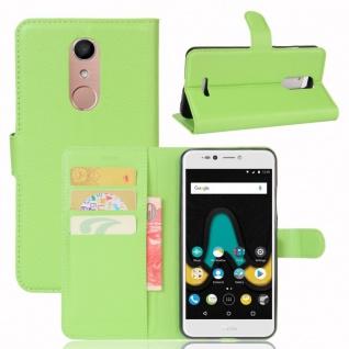 Tasche Wallet Premium Grün für Wiko Upulse Lite Hülle Case Cover Etui Schutz Neu