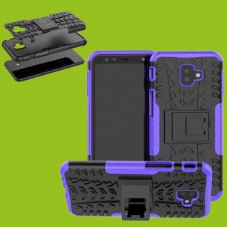 Für Samsung Galaxy J4 Plus J415F Hybrid Case 2teilig Outdoor Lila Tasche Cover