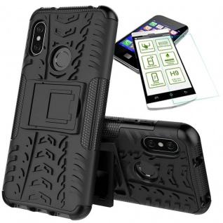 Für Xiaomi MI MAX 3 Hybrid Tasche Outdoor 2teilig Schwarz Hülle + 0, 26 H9 Glas