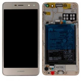 Huawei Display LCD Rahmen für Y6 2017 Service Pack 02351VPR Gold Batterie Neu