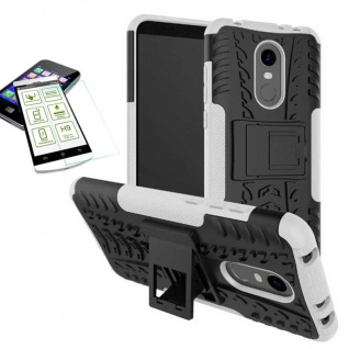 Hybrid Case Tasche Outdoor Weiß für Xiaomi Redmi 5 Plus Cover + H9 Glas Hülle