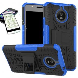 Hybrid Case Tasche 2teilig Blau für Motorola Moto E4 Plus + H9 Hartglas Hülle