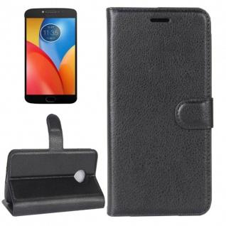 Tasche Wallet Premium Schwarz für Motorola Moto E4 Plus Hülle Case Cover Etui