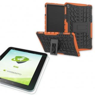 Für Huawei MediaPad T5 10.1 Zoll Hybrid Outdoor Orange Tasche 0.4 H9 Schutzglas