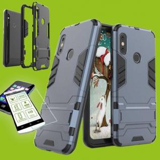 Für Xiaomi MI A2 Lite Tasche Metal Style Hybrid Case Hülle Dunkelblau + H9 Glas