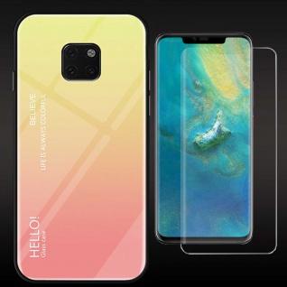 Für Huawei Mate 20 Pro Color Effekt Cover Gelb Tasche Hülle + 4D Curved Glas Neu