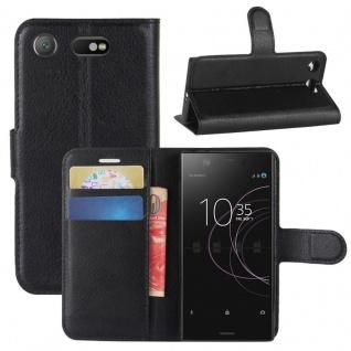 Schutzhülle Schwarz für Sony Xperia XZ1 Compact / Mini Bookcover Tasche Case Neu