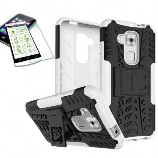 Hybrid Case Tasche Outdoor 2teilig Weiß für Huawei Nova Plus + Hartglas Cover