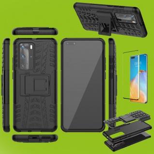 Für Huawei P40 Pro Hybrid Handy Tasche Hülle 2teilig Schwarz + 4D Curved H9 Glas