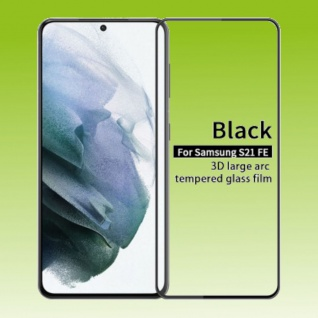 Für Samsung Galaxy S21 FE 2x 3D Display LCD H9 Hart Glas Schwarz Folie Panzer