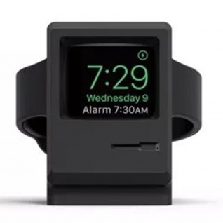 Ständer für Apple Watch Halter Station Retro Style Silikon Halterung Dekoration Schwarz