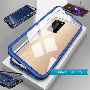 Für Huawei P40 Pro Magnet Metall Glas Blau Handy Tasche Hülle Case Cover Etuis