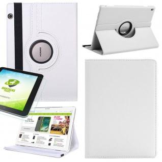 Für Huawei MediaPad M5 Lite Weiß 360 Grad Etuis Tasche Kunst Leder + H9 Glas Neu