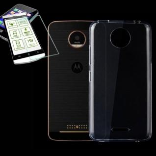 Silikoncase Transparent Tasche + H9 Panzerglas für Motorola Moto C Plus Hülle