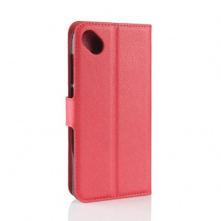 Tasche Wallet Premium Rot für Wiko Sunny 2 Plus Hülle Case Cover Etui Schutz Neu - Vorschau 3