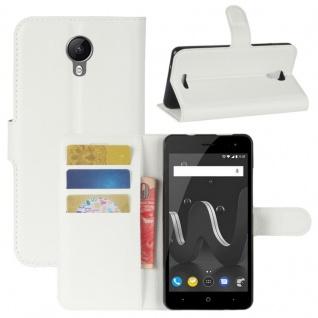 Tasche Wallet Premium Weiß für Wiko Jerry 2 Hülle Case Cover Etui Schutz Neu Top