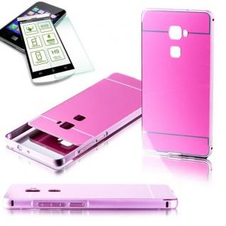 Alu Bumper 2 teilig Rosa + 0, 3 mm H9 Hartglas für Huawei Mate S 5.5 Tasche
