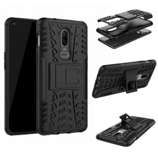 Für OnePlus 6 Six Hybrid Case 2teilig Outdoor Schwarz Etui Tasche Hülle Cover