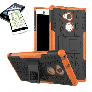 Hybrid Case 2 teilig Orange für Sony Xperia XA2 Ultra + H9 Schutz Glas Tasche