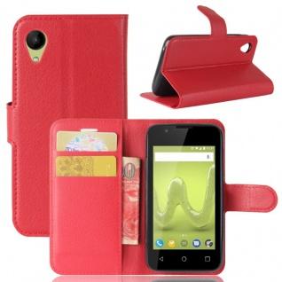 Tasche Wallet Premium Rot für Wiko Sunny 2 Hülle Case Cover Etui Schutz Zubehör