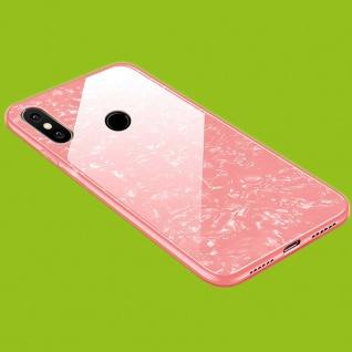 Für Xiaomi Redmi Note 8 / Note 8 2021 Color Effekt Glas Handy Cover Pink Tasche Etuis LUXUS