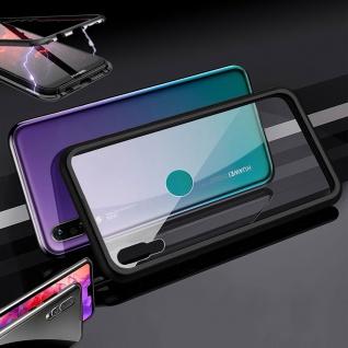 Für Huawei Y6 2019 Magnet / Metall Glas Schwarz / Transparent Tasche Hülle Etuis