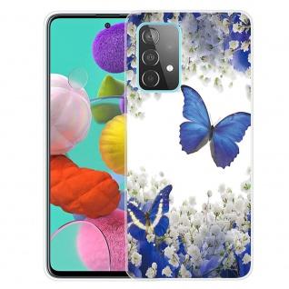 Für Samsung Galaxy A52 Silikon TPU Motiv White Flower Butterfly Handy Hülle Transparent
