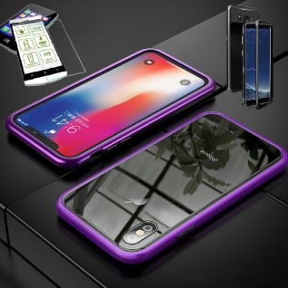 Für Apple iPhone X / XS 5.8 Magnet Glas Tasche Lila / Transparent + H9 Glas Case