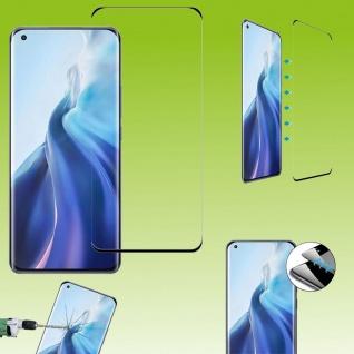 Für Xiaomi Mi 11 4D Display Full H9 Curved Glas Schwarz Panzer Schutz Gebogen