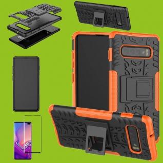 Hybrid Tasche Etuis Hülle Orange für Samsung Galaxy S10 Plus + 4D H9 Curved Glas